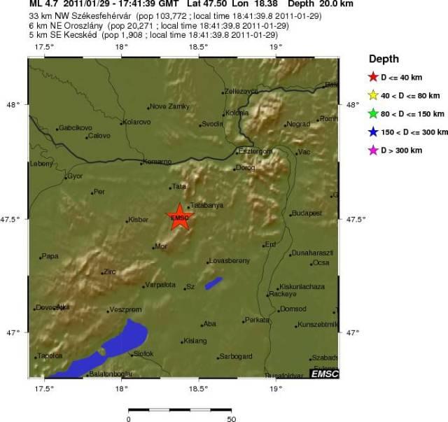 Землетрясение магнитудой 4.7 в Венгрии