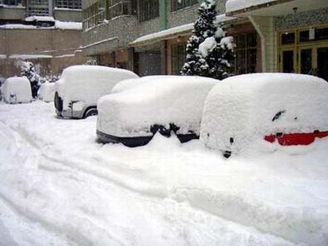 Завалы снега в Нью-Йорке