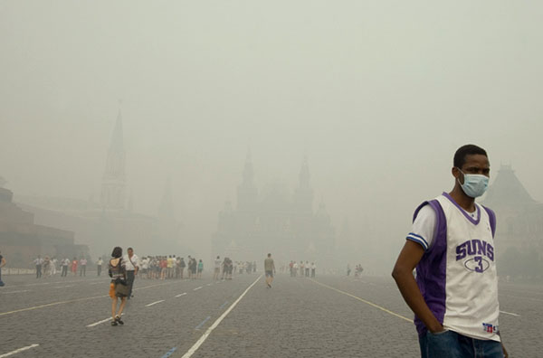 Задымленная Москва летом 2010 года