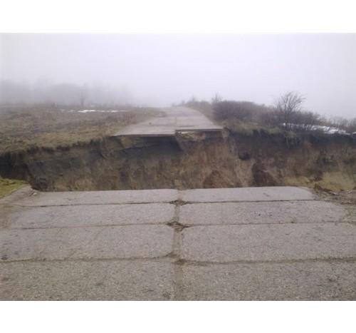 Обрушение дороги, оползень, Калининградская область