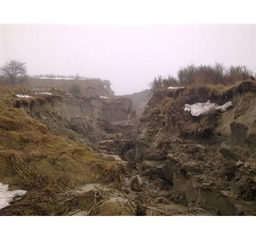 Обрушение дороги оползнем, Россия, Калининград