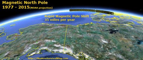 Карта движения магнитного полюса Земли