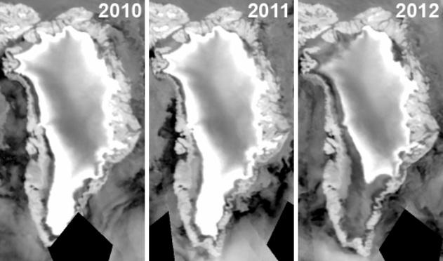 Ускорение таяния арктических льдов с 2010 по 2012 годы