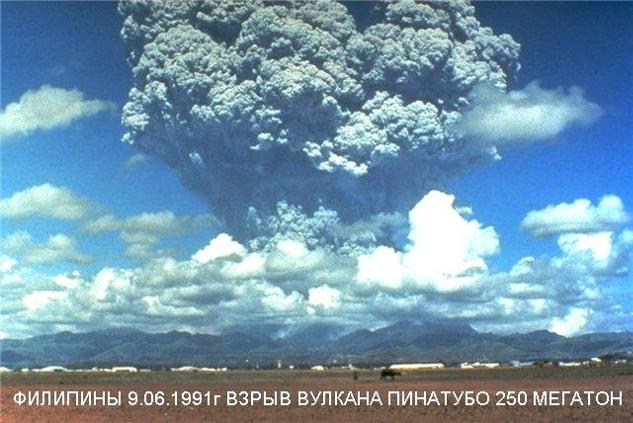 Извержение вулкана Пинатубо в 1991 году на Филиппинах привело к снижению среднегодовой температуры в Европе