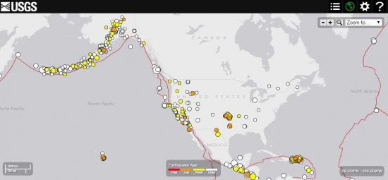 Карта землетрясений на территории Северной и Центральной Америки вторая половина апреля – первая половина мая 2015 года